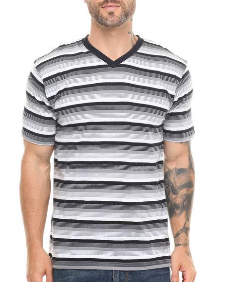 Basic Essentials - Men Black Striped Vneck Tee