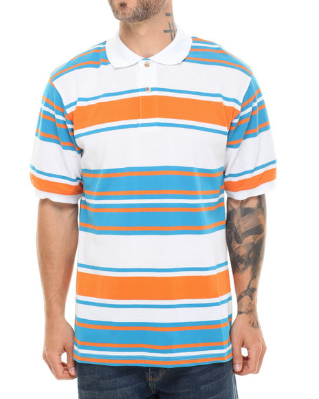 Basic Essentials - Men Blue,Orange,White Striped Pique Polo