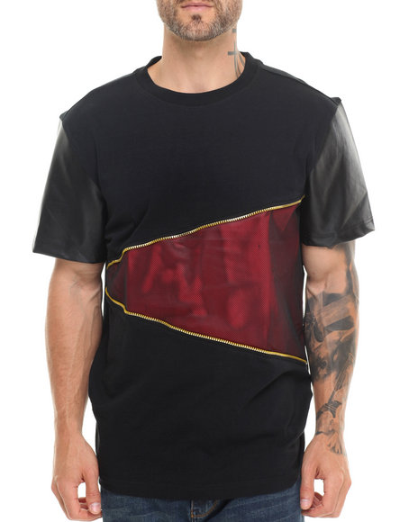 Buyers Picks - Men Black,Red Cut & Sewn Mesh/Faux Leather Tee