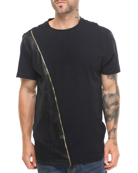 Buyers Picks - Men Black Cut & Sewn Slant Zip Mesh/Faux Leather Trim Tee