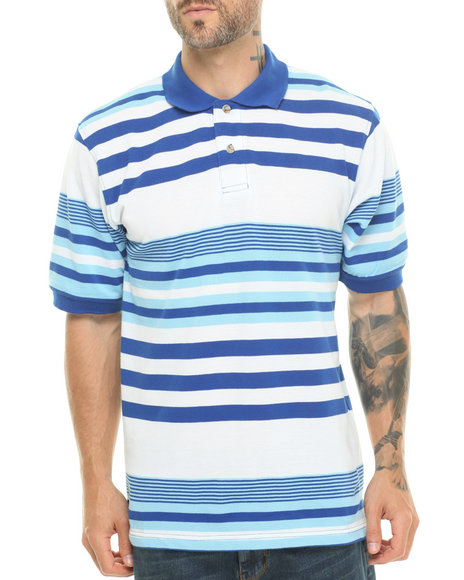 Basic Essentials - Men Blue Striped Pique Polo