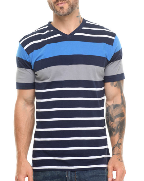Basic Essentials - Men Navy Vneck Striped Tee