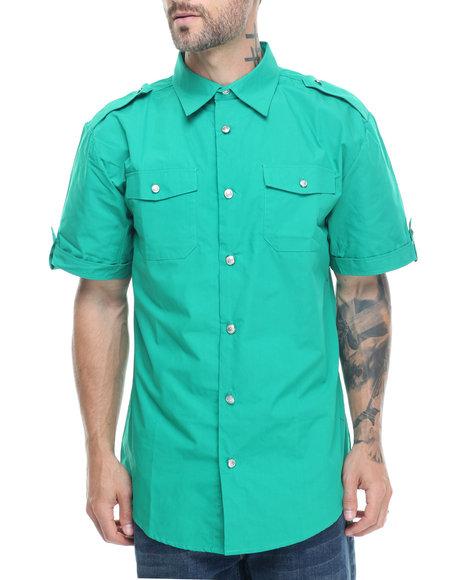 Basic Essentials - Men Green Military Short Sleeve Shirt