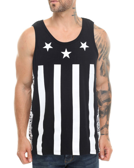 Buyers Picks - Men Black Stars N Stripes Remix Tank Top