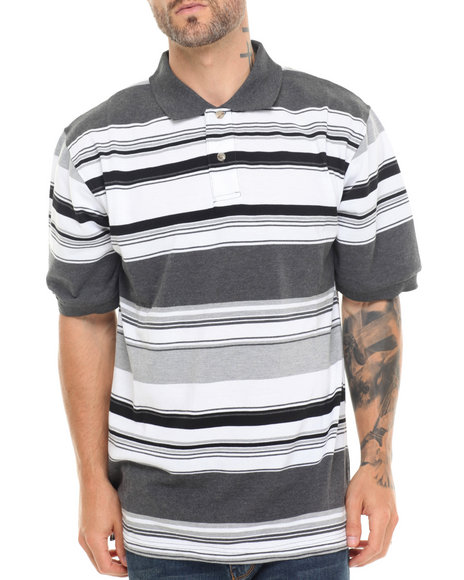 Basic Essentials - Men Grey Striped Pique Polo - $20.99