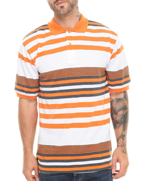 Basic Essentials - Men Orange Striped Pique Polo