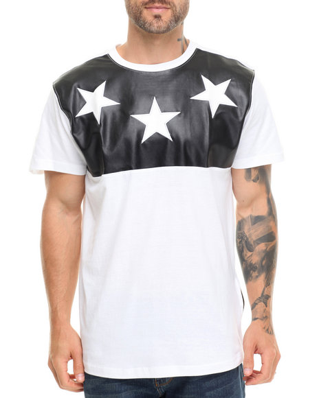 Buyers Picks - Men White Cut & Sewn Faux Leather Croc Stars Tee - $21.99