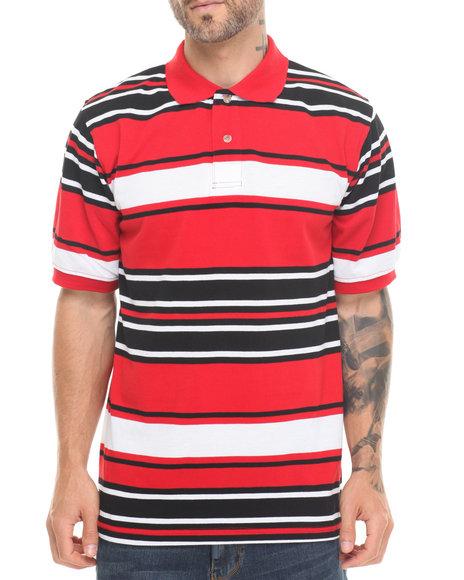 Basic Essentials - Men Red Striped Pique Polo