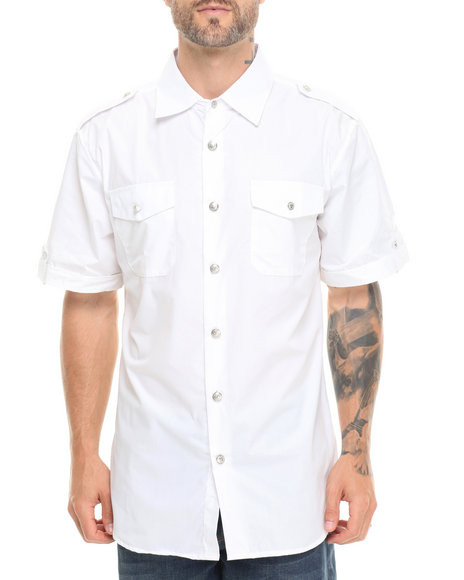 Basic Essentials - Men White Military Short Sleeve Shirt