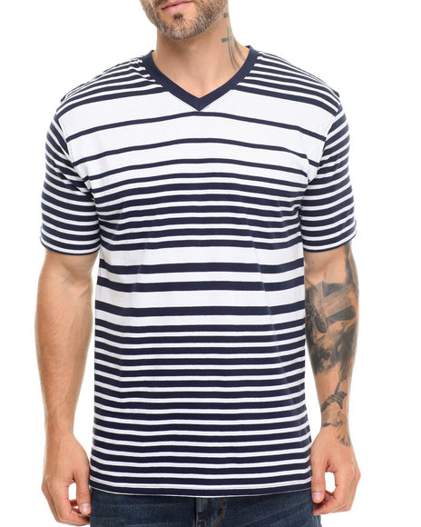 Basic Essentials - Men Navy,White Vneck Top - $11.99