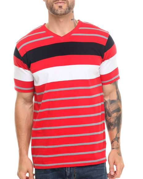 Basic Essentials - Men Red Vneck Striped Tee