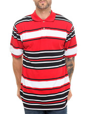Shirts - Striped Pique Polo