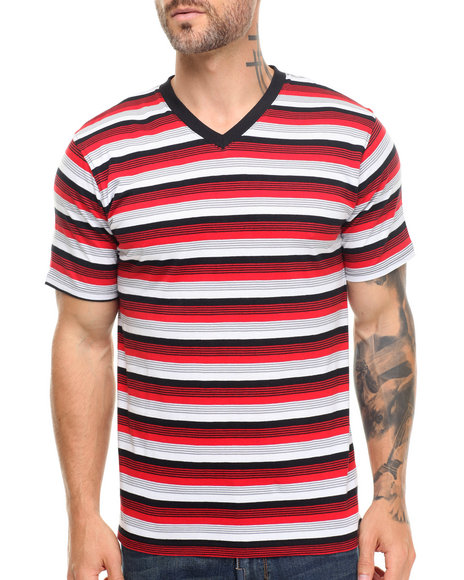 Basic Essentials - Men Red Striped Vneck Tee