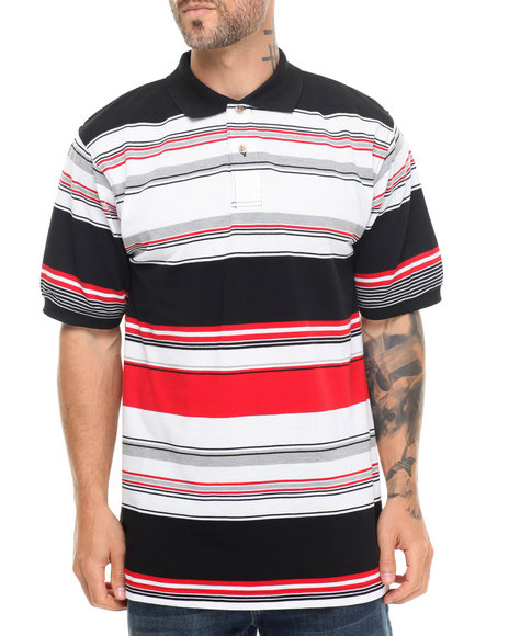 Basic Essentials - Men Black Striped Pique Polo