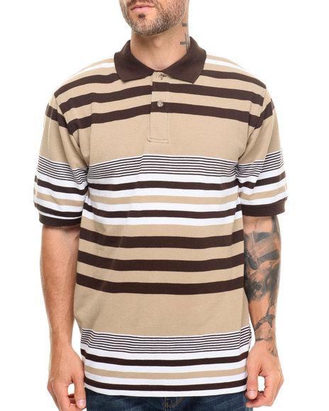 Basic Essentials - Men Brown Striped Pique Polo