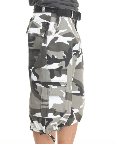 Basic Essentials - Men Camo,Grey Twill Camo Cargo Shorts With Belt