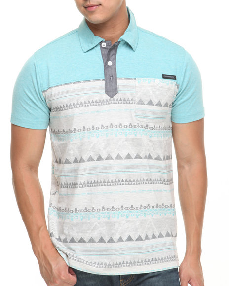 Mo7 - Men Teal Pattern Body Polo Chambray Trim Polo Shirt