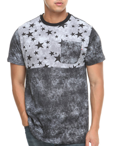 Mo7 - Men Black Washed Effect Stars S/S Tee - $16.99