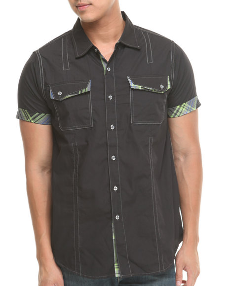 Mo7 - Men Black Plaid Trim S/S Button Down Shirt