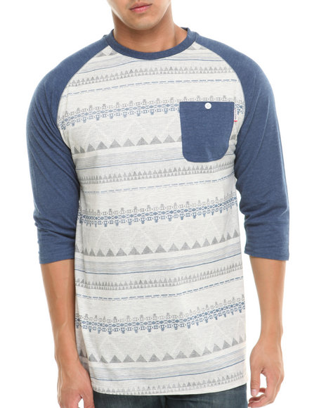 Mo7 - Men Navy Allover Aztec Print Raglan Shirt