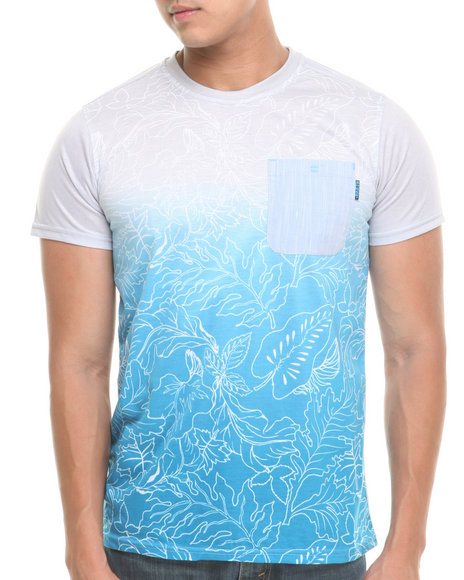 Mo7 - Men Blue Floral /Chanbray Front Pocket Tee - $13.99