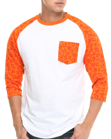 Mo7 - Men Orange Allover Print Raglan Tee