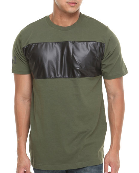 Mo7 - Men Olive Faux Leather Chest Stripe Trim S/S Shirt