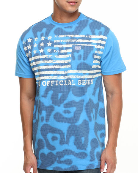 Mo7 - Men Blue Allover Print American Tee