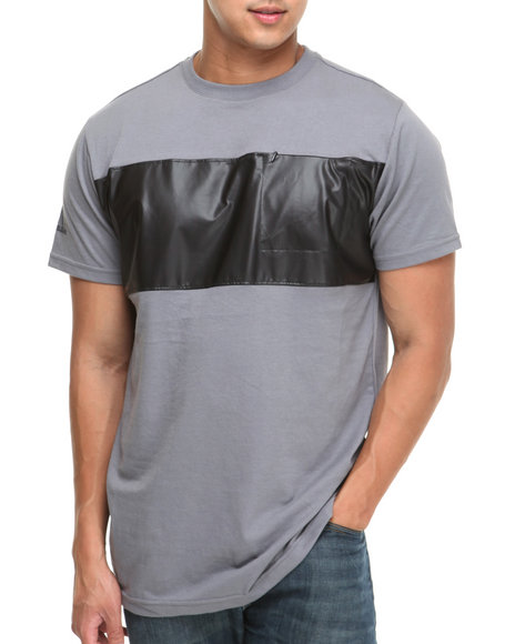 MO7 - faux Leather Chest stripe Trim S/S Shirt