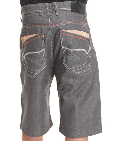 Mo7 - Men Orange Camo Twill Trim Back Pocket Denim Shorts