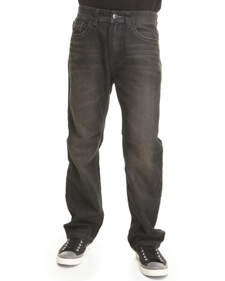 Mo7 - Men Black Medium Indigo Coated Trim Denim Jeans