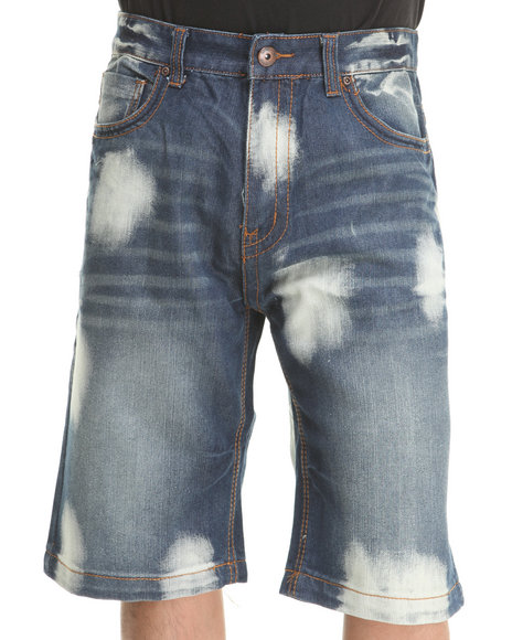 Mo7 - Men Medium Wash Bleached Medium Indigo Denim Shorts