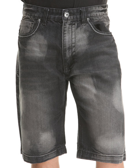 Mo7 - Men Black Bleached Medium Indigo Denim Shorts
