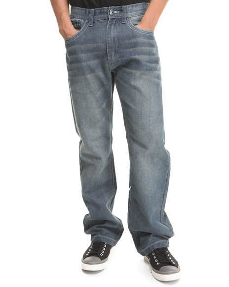 MO7 - Medium Indigo Coated Trim Denim Jeans