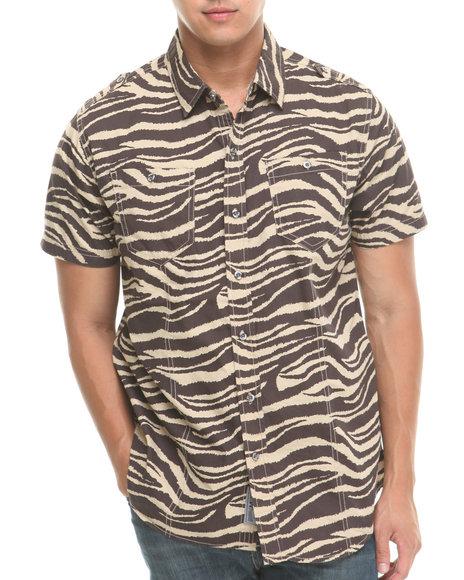 MO7 Brown Allover Zebra Print S/S Button Down Shirt