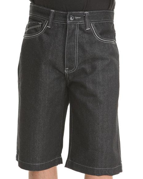MO7 Black Camo Twill Trim Back Pocket Denim Shorts