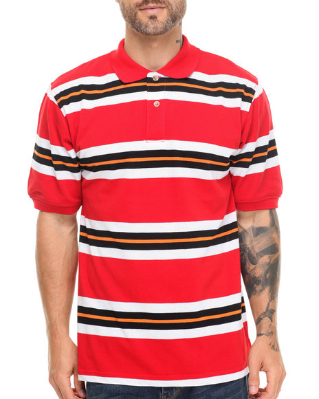 Ur-ID 214995 Basic Essentials - Men Red Striped Pique Polo
