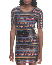Fashion Lab - Meg Tribal Print 3/4 Sleeve Dress w/ Belt