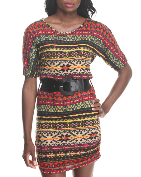 Fashion Lab - Women Multi,Orange Hacci Knit Dress W/ Belt
