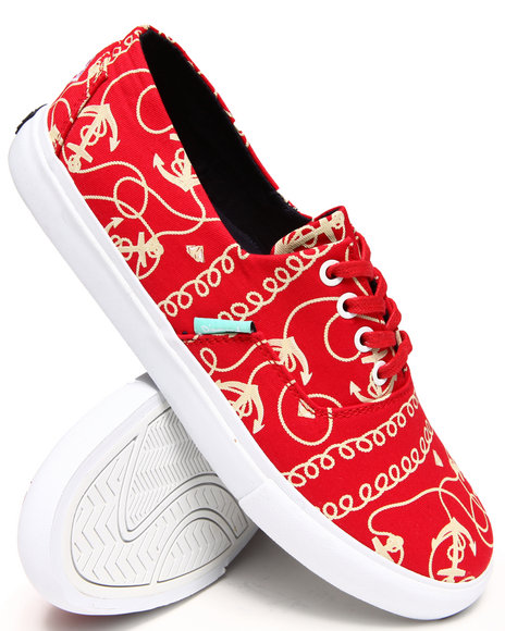 Diamond Supply Co - Men Red Diamond Cuts Red Printed Canvas Sneakers