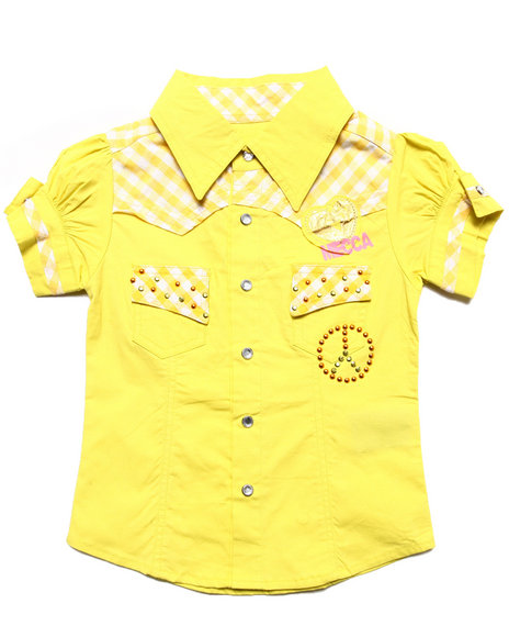 Mecca Girls - Girls Yellow Drop Waist Logo Top