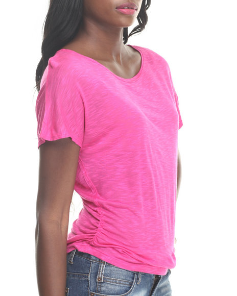 Basic Essentials - Women Pink Megan Side Rouched Wide-Neck Top
