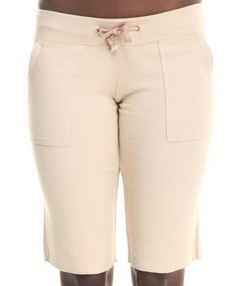 Basic Essentials - Women Khaki Drawstring Knit Shorts W/Pockets - $11.99