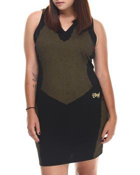 COOGI - Sleeveless Sequin Print Hooded Dress (Plus)