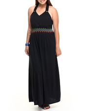 Plus Size - CRIS-CROSS BACK HALTER DRESS