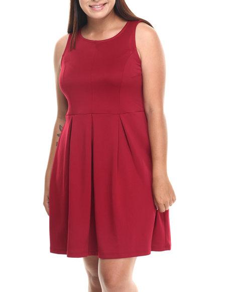Basic Essentials - Women Maroon Tati Skater Dress W/Back Zipper (Plus)