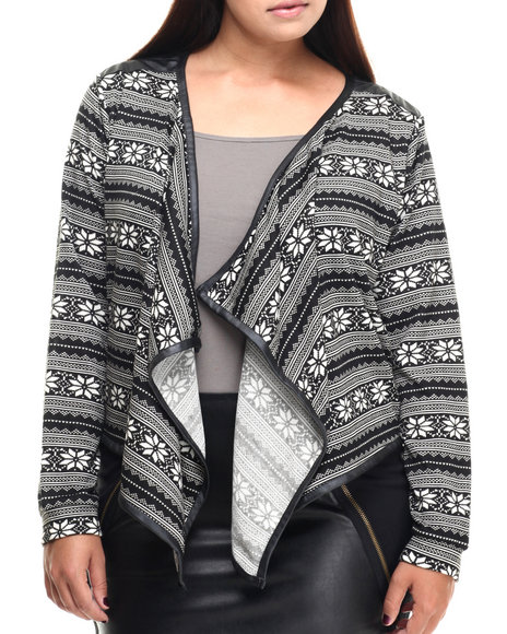Fashion Lab - Women Black,White Pam Open Front Fly Away Cardigan (Plus)