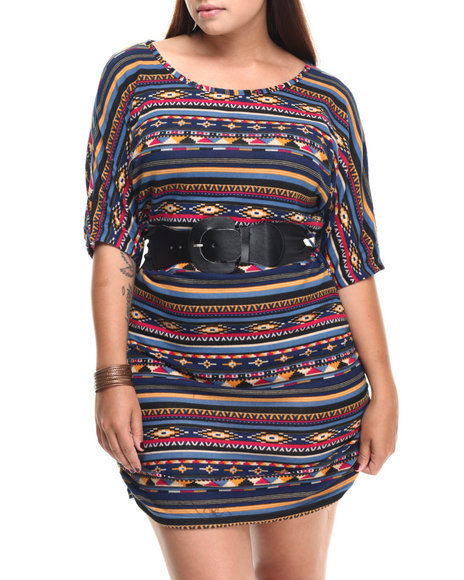 Fashion Lab - Women Blue Meg Tribal Print 3/4 Sleeve Dress W/ Belt (Plus)