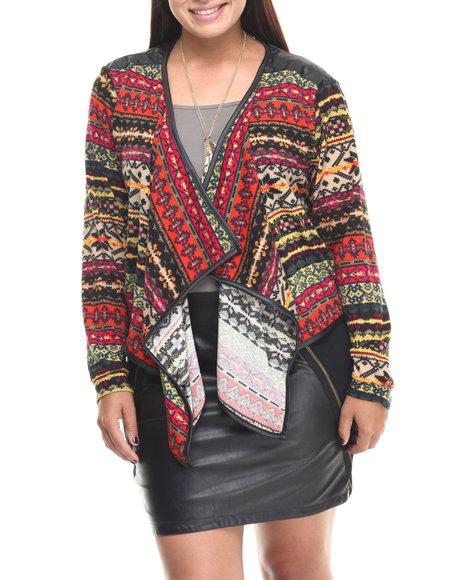 Fashion Lab - Women Black Bora Printed Open Cardigan  (Plus)