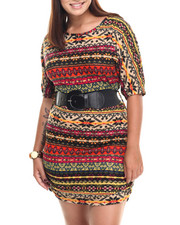 Fashion Lab - Hacci Knit Dress w/ Belt (Plus)